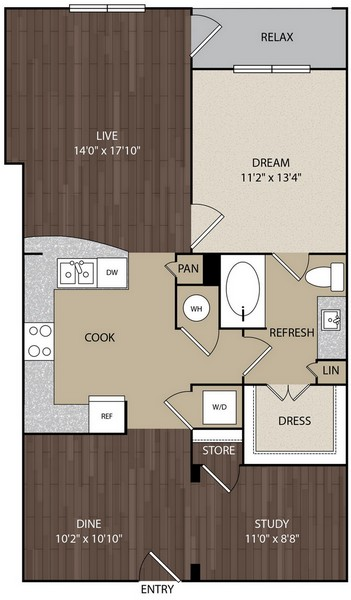 974 sq. ft. A9B floor plan