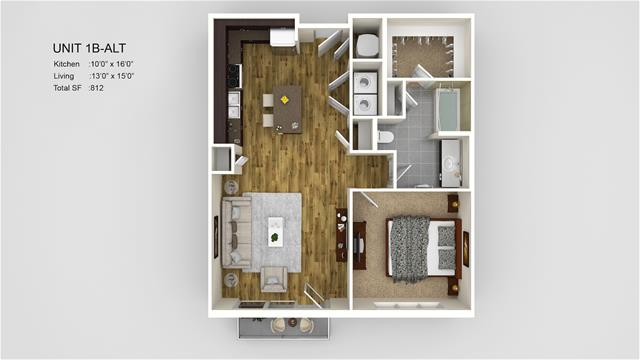 812 sq. ft. 1B-Alt floor plan