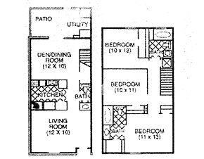 1,310 sq. ft. F floor plan