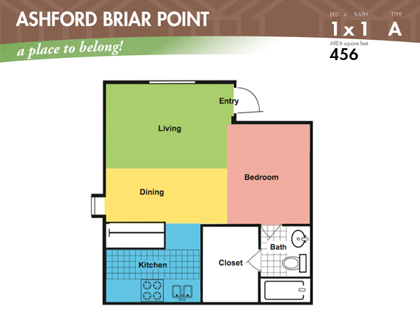 456 sq. ft. A floor plan