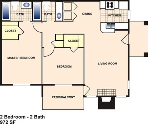 972 sq. ft. F floor plan