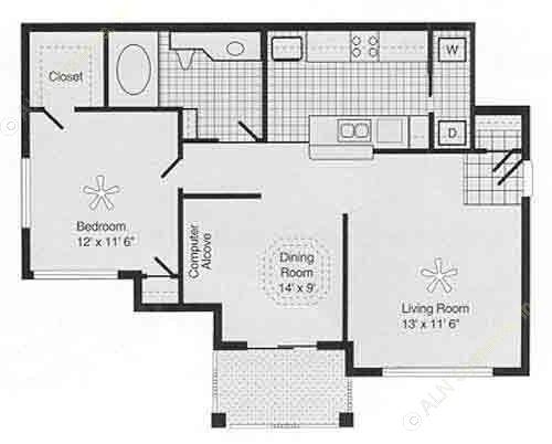 851 sq. ft. PH II B floor plan