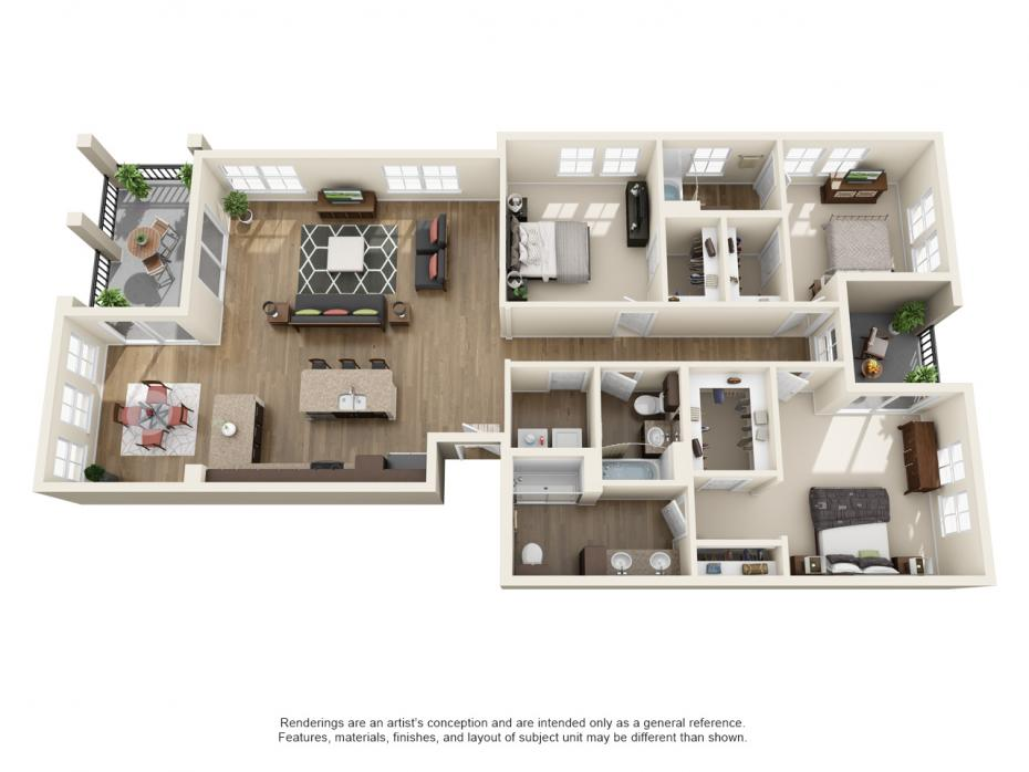 1,738 sq. ft. C2 floor plan