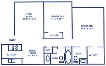 875 sq. ft. floor plan