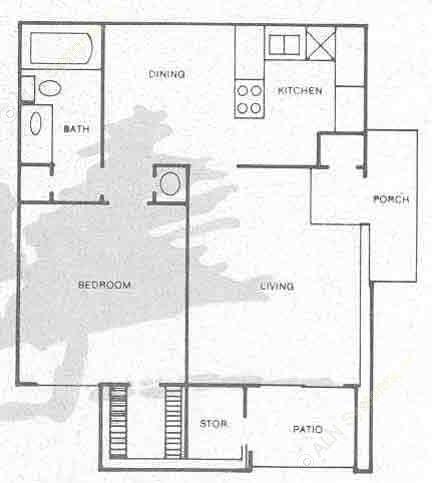 619 sq. ft. A2 floor plan