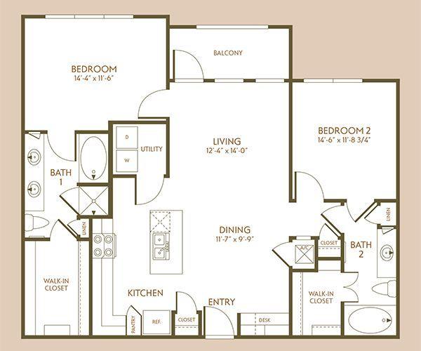 1,117 sq. ft. B2 floor plan