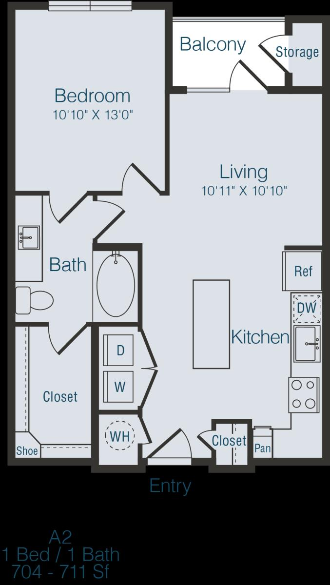 705 sq. ft. to 711 sq. ft. A2 floor plan