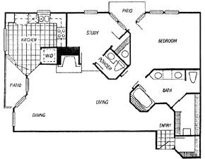 1,214 sq. ft. Laurent floor plan