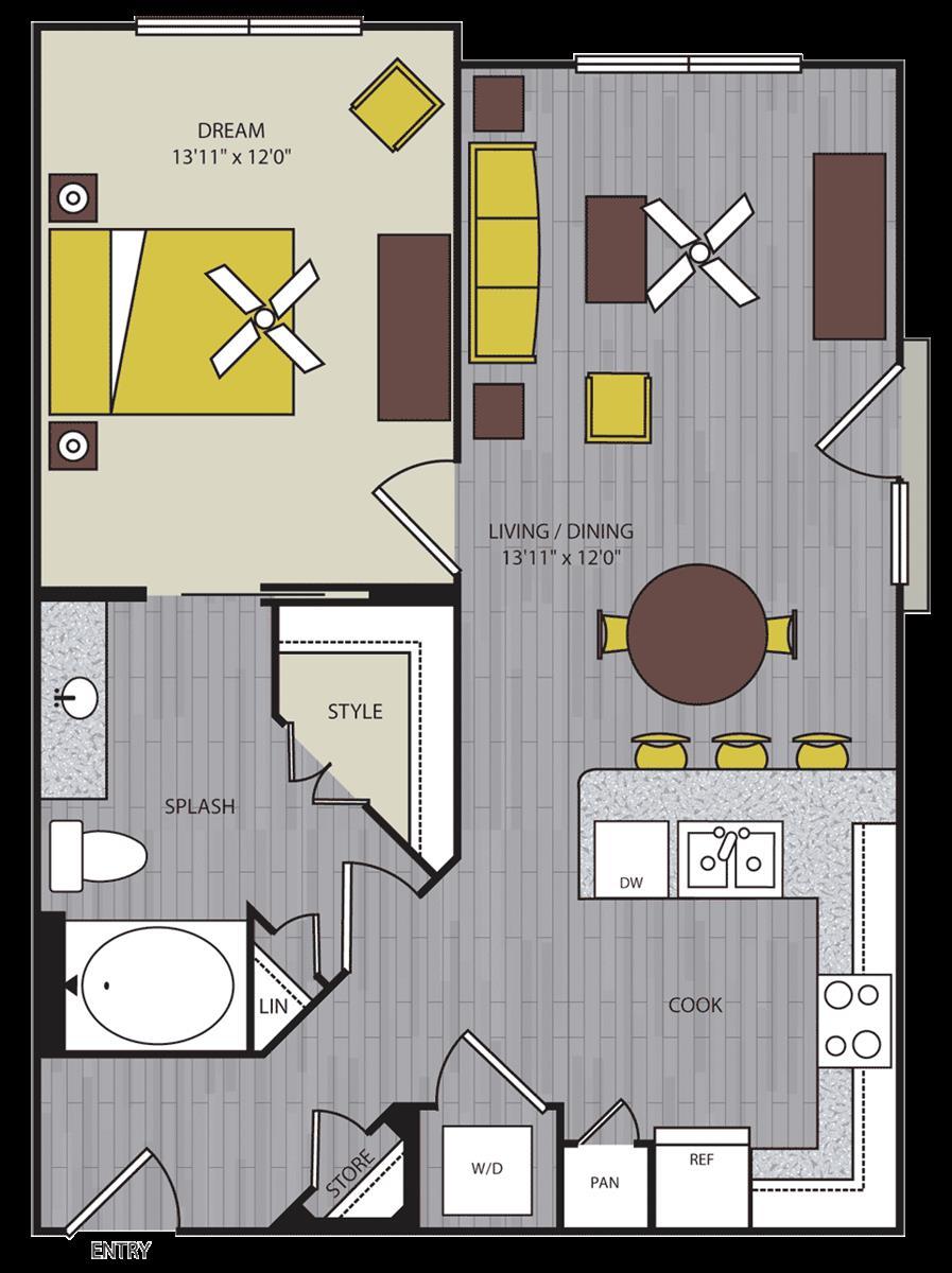 847 sq. ft. A5 floor plan