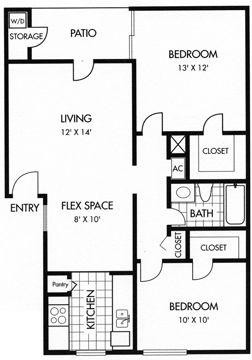 812 sq. ft. B floor plan