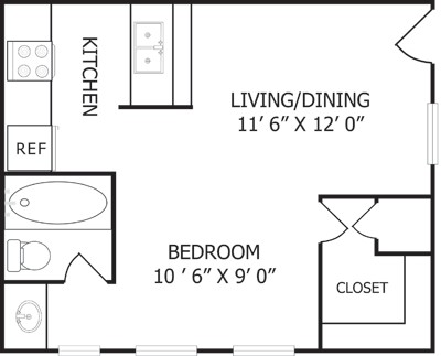373 sq. ft. floor plan