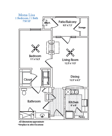 750 sq. ft. Mona Lisa floor plan