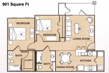 901 sq. ft. B 60% floor plan