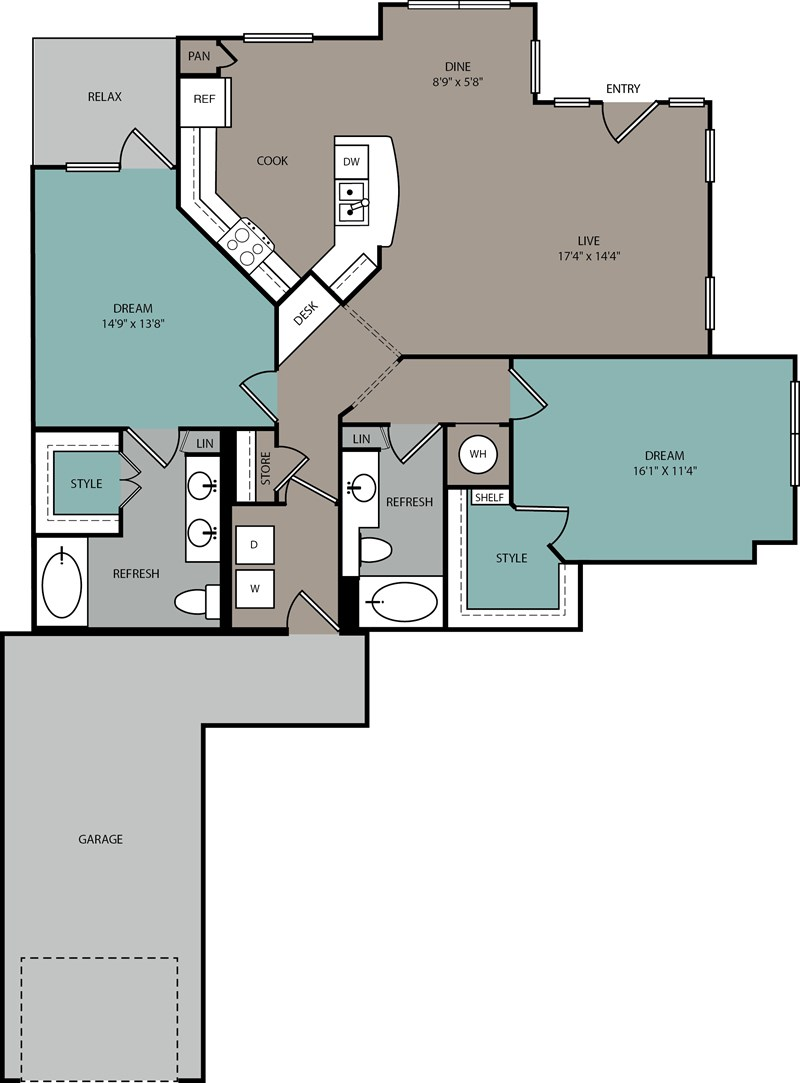 1,302 sq. ft. B2 L floor plan