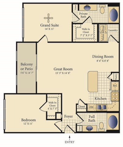 1,085 sq. ft. Santa Fe floor plan