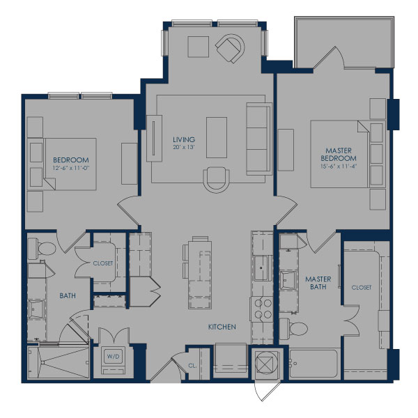 1,112 sq. ft. B36F floor plan