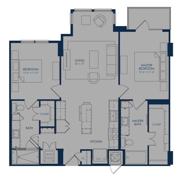 1,112 sq. ft. B36D floor plan