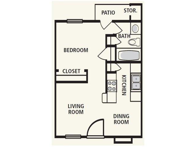 482 sq. ft. Eff floor plan