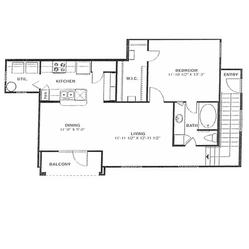 850 sq. ft. B 60% floor plan