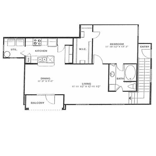 850 sq. ft. B 60% floor plan