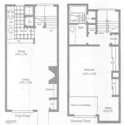 864 sq. ft. floor plan