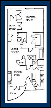985 sq. ft. ANTIGUA floor plan