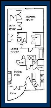 985 sq. ft. Antigua floor plan
