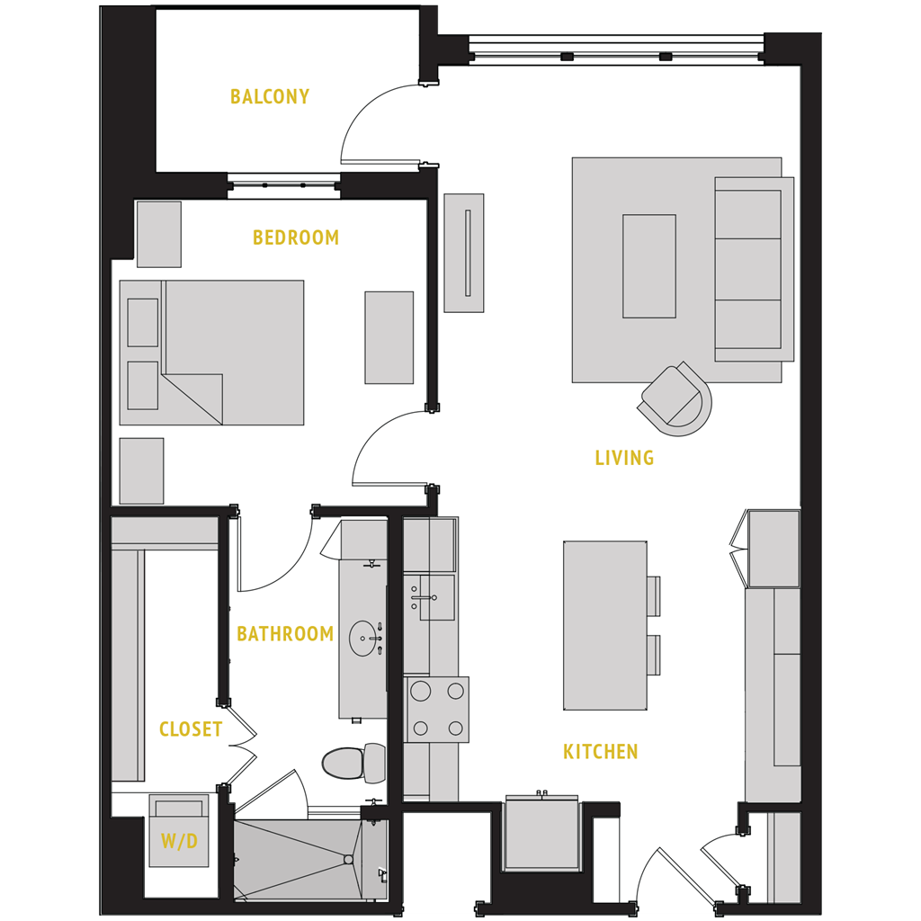 832 sq. ft. A8 floor plan