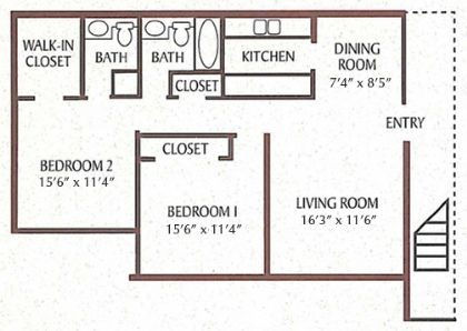 847 sq. ft. Bayberry floor plan