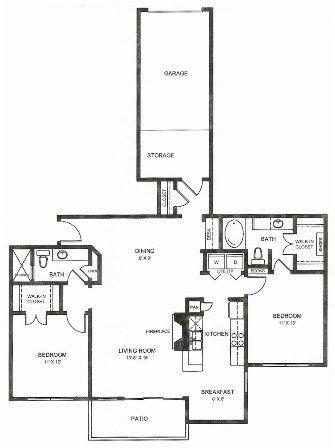 1,303 sq. ft. B2ug floor plan