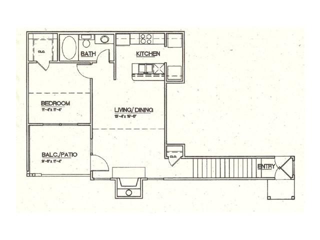 753 sq. ft. A3 floor plan