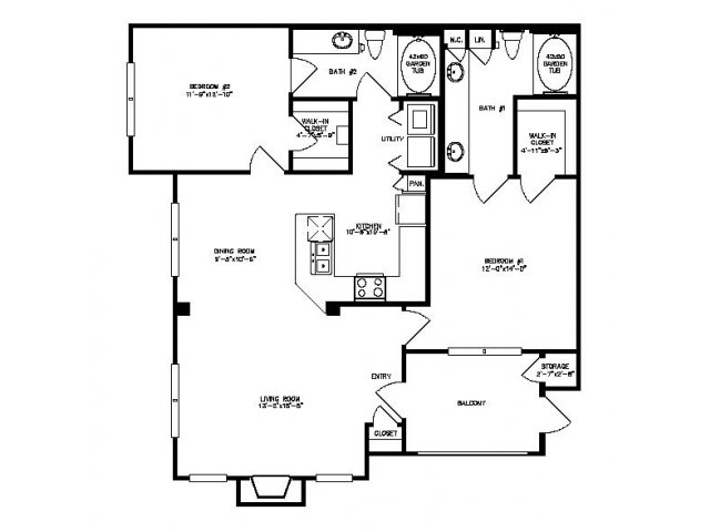 1,148 sq. ft. Mesquite floor plan