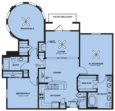 1,326 sq. ft. C1.1 floor plan