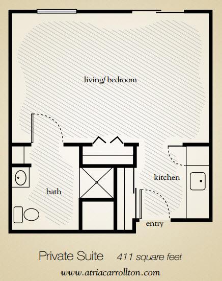 411 sq. ft. floor plan