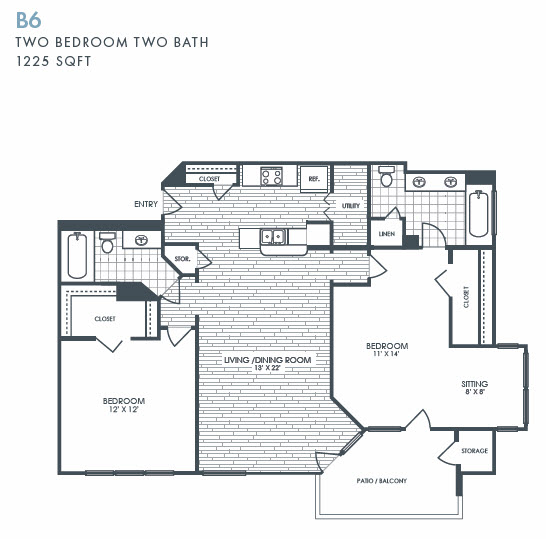 1,225 sq. ft. B6 floor plan