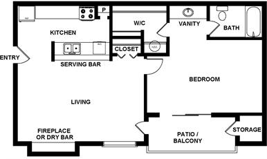 517 sq. ft. to 605 sq. ft. floor plan
