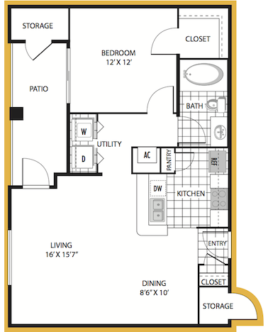 722 sq. ft. Verona floor plan