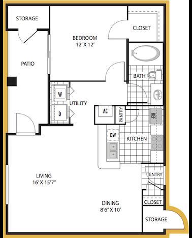 722 sq. ft. Verona floor plan