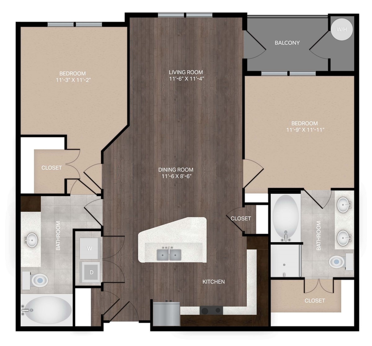 1,094 sq. ft. B1 floor plan