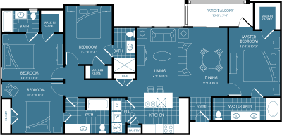 608 sq. ft. 1st/4th Flr Park View floor plan