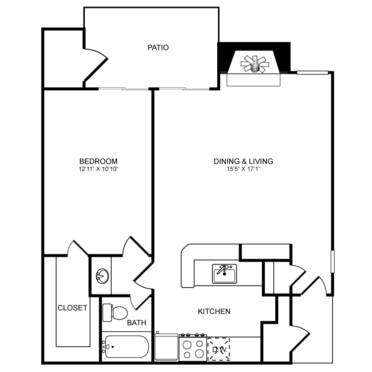 687 sq. ft. A4 floor plan