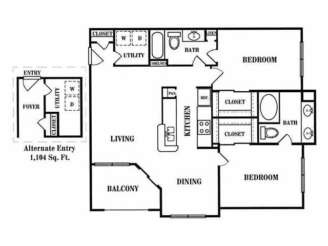 1,088 sq. ft. D floor plan
