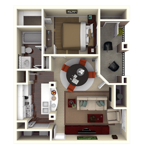 728 sq. ft. A2 floor plan