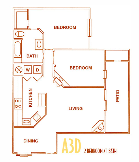 900 sq. ft. A3D - A3U floor plan