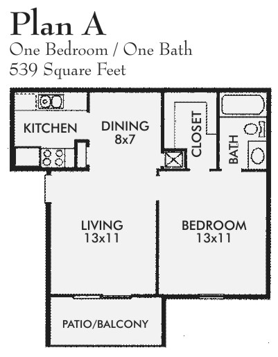 539 sq. ft. A floor plan