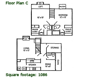 1,086 sq. ft. C floor plan