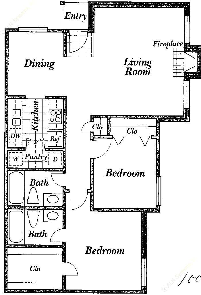 1,000 sq. ft. A floor plan