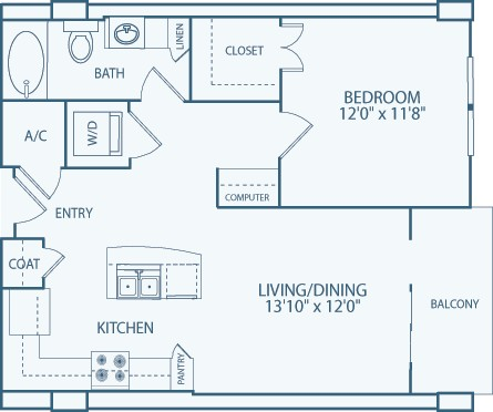 731 sq. ft. A7 floor plan