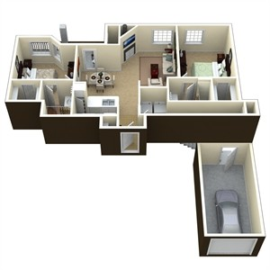 935 sq. ft. B1 floor plan