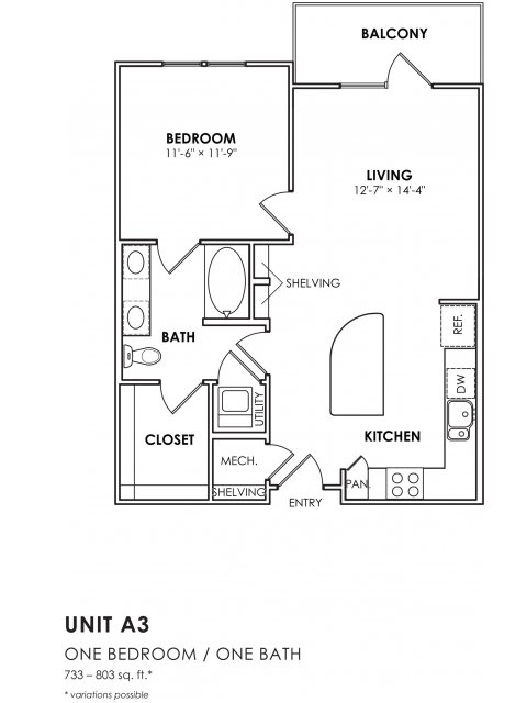 803 sq. ft. A3 floor plan